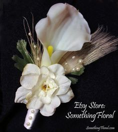 White Calla Lily and Bleached Peacock Feather Boutonniere - White / Ivory - Wedding, Vow Renewal, Prom, Homecoming, Bar Mitzvah, Cotillion, etc. #boutonniere #buttonhole #calla #lily #white #ivory #wedding #flowers #groom #groomsmen