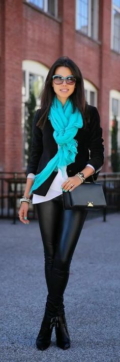 Cute fall fashion. Love the pop of color!