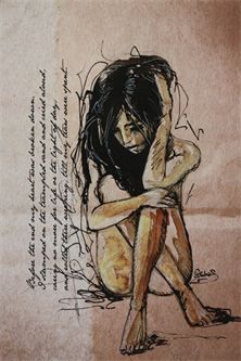 """""""Tears Were Spent""""   Ink sketch stretched onto canvas . Beautiful and sad . Art by Sara Riches."""