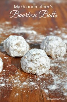 My Grandmother's Bourbon Balls are a no-bake cookie recipe that has been a favorite for generations. These things disappear FAST and they're perfect for Kentucky Derby Day parties or Christmas cooki (Baking Cookies Christmas) Holiday Cookie Recipes, Cookie Desserts, Holiday Cookies, Candy Recipes, Holiday Baking, Holiday Treats, Christmas Baking, Just Desserts, Dessert Recipes