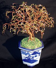 Beaded Bonsai Glass Beaded Wire Tree Sculpture by salvatore7
