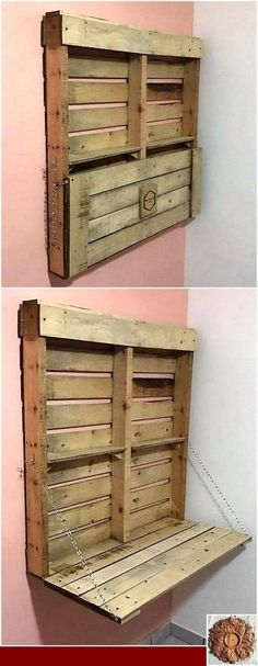Funky Furniture, Pallet Furniture, Furniture Projects, Recycled Pallets, Wooden Pallets, Decoration Palette, Funky Home Decor, Easy Wood Projects, Floating Shelves Diy