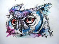 Rotaugenlaubfrosch Owl 8 x 10 Print von AbbyDiamondDraws auf Etsy Watercolor Bird, Watercolor Animals, Watercolor Paintings, Watercolors, Art And Illustration, Bird Line Drawing, Best Sketchbook, Art Visage, Owl Tattoo Design