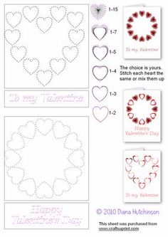 Heart and Ring of Hearts on Craftsuprint designed by Diana Hutchinson - Stitching patterns for a heart of hearts and a ring of hearts for Valentines with different ways to stitch. - Now available for download!