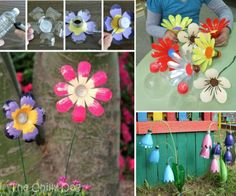Plastic Bottle Flowers Tutorial - great upcycling and recycling DIY project for all ages