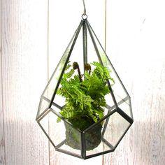 Geometric Hanging Terrarium With Faux Fern