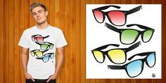Come check out our giant selection of T-Shirts, Mugs, Tote Bags, Stickers and More. T Shirt, Fashion Design, Glasses, Happy, Woman, Eyewear, Tee, Eyeglasses, Ser Feliz