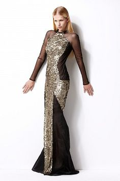 Anise evening gown - silk organza - sequined - sheer sleeves and side panels - double lined #womenswear