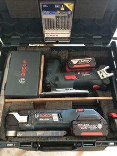 Bosch l-Boxx custom insert for18v Multi-tool & blades, pulse NEW 18v barrel grip Jigsaw & blades, and 6.0amp battery's for each tool.