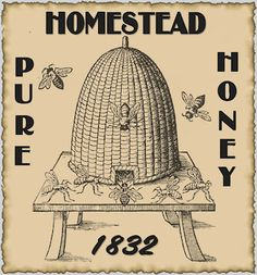 Victorian Honeybees and A Skep Beehive Bee Keeping Honey Hive Queen Print Primitive Labels, Primitive Crafts, Pantry Labels, Jar Labels, Honey Label, Etiquette Vintage, Bee Skep, Bee Hives, Framed Prints