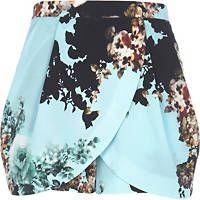 Turquoise floral skort