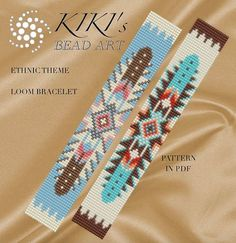 This pattern is for the Ethnic theme LOOM bracelet which is inspired by a Native American design and adjusted for delica beads. This bracelet is created using size 11 Japanese miyuki delica seedbeads. Beading Patterns Free, Seed Bead Patterns, Weaving Patterns, Beading Ideas, Beading Supplies, Jewelry Patterns, Loom Bracelet Patterns, Bead Loom Bracelets, Embroidery Bracelets