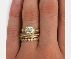 Moissanite Engagement Ring Set Floral Vintage Matching Rings Two Tone Gold Engagement Rings - Fine Jewelry Ideas Pretty Wedding Rings, Stacked Wedding Rings, Wedding Ring Styles, Wedding Jewelry, Stacked Rings, Diamond Promise Rings, Diamond Wedding Rings, Bridal Rings, Floral Vintage