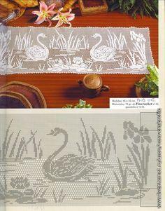 Swan scene filet crochet