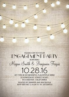 Burlap lace engagement invitation plus rustic string lights - Features a beautiful rustic burlap lace engagement invitation. Customize online! More at http://superdazzle.com