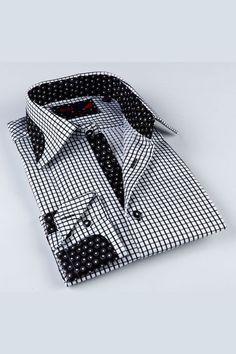 BRIO Check Classic Shirt In Black Dots