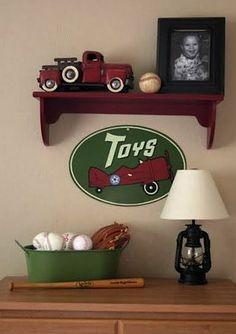 vintage look baseball room decor