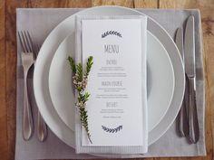 Wedding Menu Printable Custom DIY wedding by WhiteWillowPaper