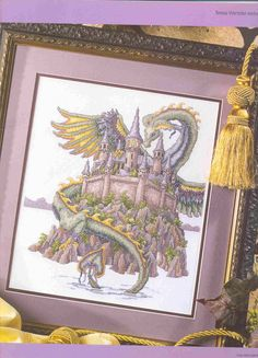 The Castle (Theresa Wentzler) From Cross Stitch Gold 2 of 7 Dragon Cross Stitch, Fantasy Cross Stitch, Cross Stitch Fairy, Cross Stitch For Kids, Cross Stitch Boards, Cross Stitch Animals, Blackwork Patterns, Needlepoint Patterns, Bead Loom Patterns