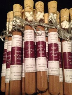 A personal favorite from my Etsy shop https://www.etsy.com/listing/211532398/hot-chocolate-test-tube-bridal-shower