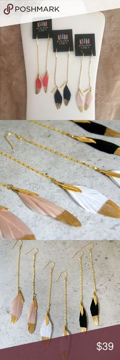 Function & Fringe Gold Dipped Feather Earrings 3 left Dangly 18k gold plated chain and feather earrings. Finished with the signature Function & Fringe gold plated feathers. Perfect boho chic addition to your collection! Handmade in California.  Function & Fringe Jewelry Earrings