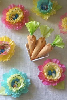 Flower mini Easter baskets and carrot candy holders made from coffee filters