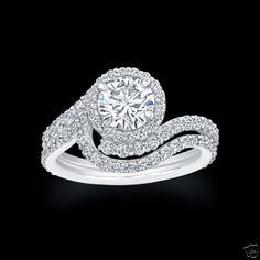 1.75 CT ROUND HALO DIAMOND ENGAGEMENT RING & WEDDING BAND BRIDAL SET EGL USA