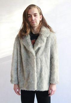 Vintage 90's White / Grey Faux Fur Coat by WastelandVintageUK on Etsy