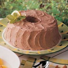 "Chocolate Mousse   Frosting: ""This smooth, fluffy frosting is a real treat for cake lovers on a restricted diet—plus everybody else,"" shares Kim Marie Van Rheenen of Mendota, Illinois. ""Another way I like to serve it is layered in a parfait glass with cubed angel food cake or fresh fruit and topped with additional whipped topping. It makes a pretty dessert."""