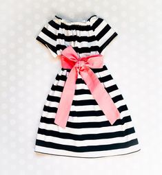Spring Easter Dress for Girls - Black and White Stripes Girls Fall Dresses, Girls Christmas Dresses, Navy Floral Dress, Striped Dress, Mother Daughter Dresses Matching, Coral Fabric, Valentines Outfits, Short Sleeve Dresses, Dresses With Sleeves