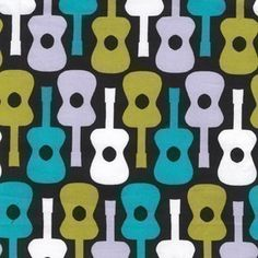 Michael Miller Groovy Guitar Lagoon Fabric #pattern #repeat #cotton
