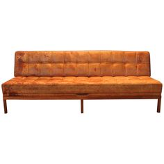 Illums Bolighus Tufted Cognac Sofa or Daybed, Denmark, 1955 | From a unique collection of antique and modern sofas at https://www.1stdibs.com/furniture/seating/sofas/