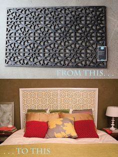 Make this West Elm inspired headboard with… you'll never guess … rubber doormats!  Tutorial by Kara Pasley.