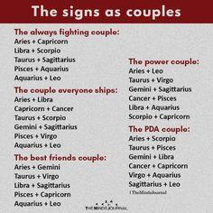 The Signs As Couples: The power couple: Aries + Leo Taurus + Virgo Gemini + Sagittarius Cancer + Pisces Libra + Aquarius Scorpio + Capricorn. Gemini And Sagittarius, Zodiac Signs Sagittarius, Zodiac Sign Traits, Zodiac Horoscope, Gemini Facts, Aquarius Traits, Horoscope Signs, Zodiac Signs Chart, Zodiac Star Signs