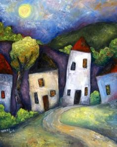Four Cottages Created By Jeremy Mayes Posted By Maher & Valentino Watercolor Projects, Watercolor Art, Landscape Art, Landscape Paintings, Different Kinds Of Art, Naive Art, Acrylic Art, Art Plastique, Painting Inspiration