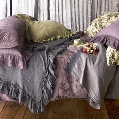 Master bedroom - Bed Scarf Whisper Linen ~ I love this look!