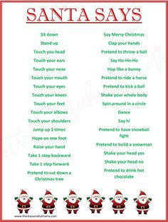 "This FREE PRINTABLE ""Santa Says"" game is a fun spin on Simon Says. It's a low prep, super fun game for Christmas parties. It works great for school classroom parties."
