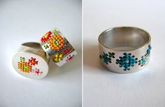 German born, Australian based Caro Baertling's jewellery is also a combination of stitching and silver