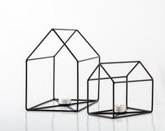Two Wire Houses Candle Holders