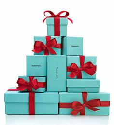 What else says Christmas like a turquoise box tied with a red satin ribbon...