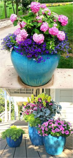 Gardening With Containers - 24 stunning container garden designs with PLANT LIST for each! Lots of designer tips on selecting the best mix of flower plants and creating a beautiful colorful garden which blooms all season with these planting recipes! Plantas Indoor, Container Flowers, Colorful Garden, Colorful Plants, Plantation, Garden Planters, Garden Bar, Big Garden, Flower Planters