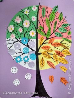 Preschool Crafts, Diy Crafts For Kids, Fall Crafts, Arts And Crafts, Paper Crafts, Four Seasons Painting, Kids Activities At Home, Group Art Projects, Flower Phone Wallpaper