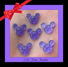 30 Purple Glitter Rhinestone Minnie Mouse by LillyRoseJewelry