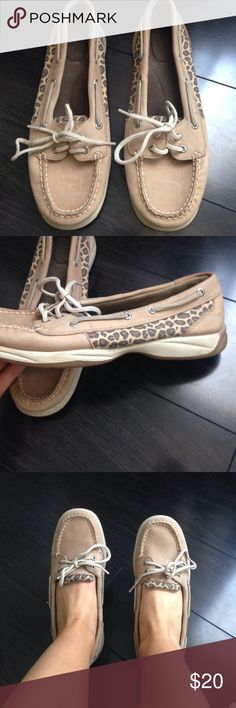 Cheetah sperrys!!!!! Barely worn. Super cute, great condition!! Sperry Shoes Flats & Loafers