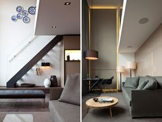 Left: stairs to bedroom. Right: lower level living within double-storey space. Conservatorium Hotel, Amsterdam, designed by Milan-based interior architect Piero Lissoni. Image © Amit Geron.