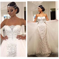 WOW Dress by @maggiesottero from @raffaeleciucabridal | Headpiece & earrings by @blissdesignjewellery | Hair: @kykhair #BellaNaijaWeddings