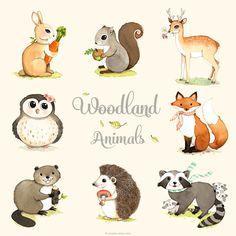 Wald Tiere zu drucken Satz Wald Waldtiere Woodland Tiere von joojoo