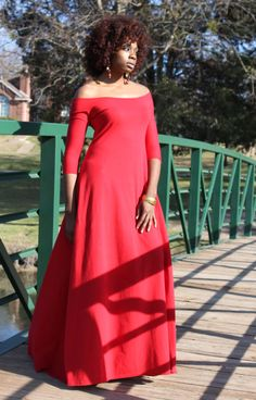 Hey, I found this really awesome Etsy listing at https://www.etsy.com/listing/188641282/red-off-the-shoulder-34-sleeve-maxi