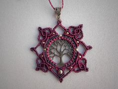 Macrame necklace TREE OF LIFE, macrame mandala, burgundy bohemian jewelry, hippie, gypsy, festival jewelry.
