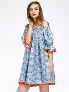 Shop Bardot Floral Print Pom Pom Trim Dress online. SheIn offers Bardot Floral Print Pom Pom Trim Dress & more to fit your fashionable needs.